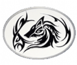 Tribal Wolf Head Tattoo Belt Buckle with display stand. Product code WG2